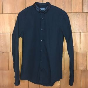 Zara Man Slim Fit Black Button Up Shirt